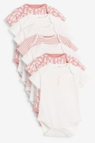 Pink Bunny 7 Pack Short Sleeve Bodysuits (0mths-3yrs)
