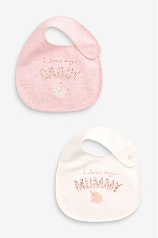 Pink 2 Pack Mummy And Daddy Bunny Regular Bibs