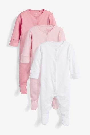 Pink/White 3 Pack Cotton Sleepsuits (0-2yrs)