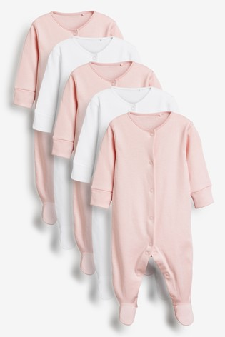 Pink/White 5 Pack Essentials Sleepsuits (0-12mths)