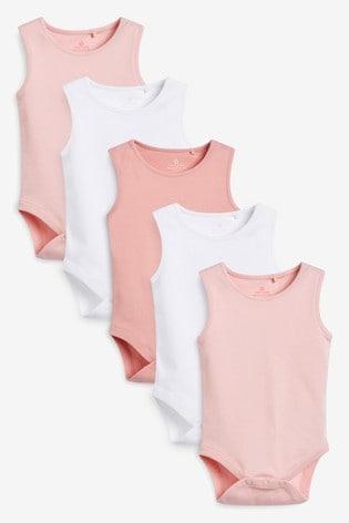 Pink 5 Pack Vest Bodysuits (0mths-3yrs)