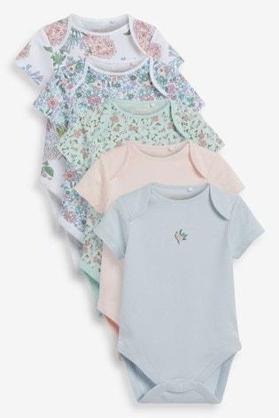 Green Floral 5 Pack Short Sleeve Bodysuits (0mths-3yrs)