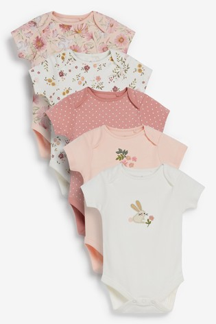Pink Floral 5 Pack Short Sleeve Bodysuits (0mths-3yrs)