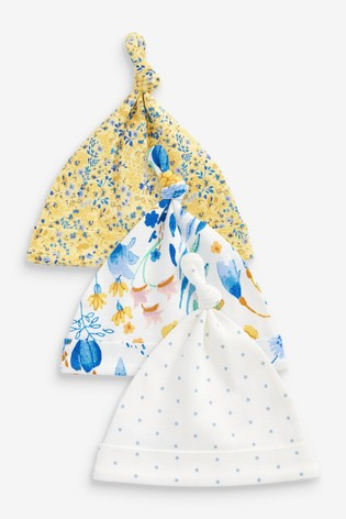 Ochre Floral 3 Pack Tie Top Hats (Younger)