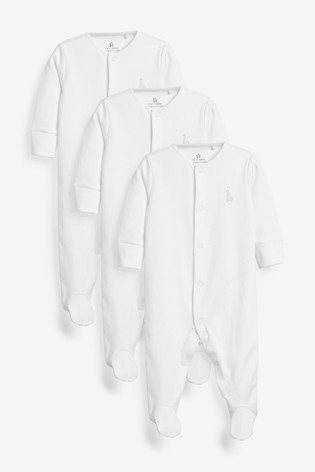 White 3 Pack Cotton Sleepsuits (0-18mths)