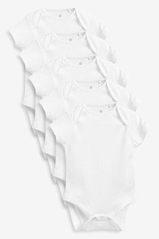White 5 Pack Plain Short Sleeve Bodysuits (0mths-3yrs)
