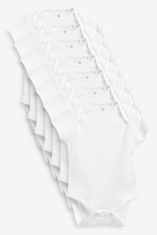 White Essential 7 Pack Cotton Short Sleeve Bodysuits (0mths-3yrs)