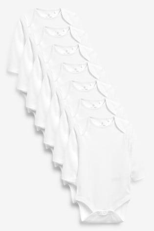 White 7 Pack Long Sleeve Bodysuits (0mths-3yrs)