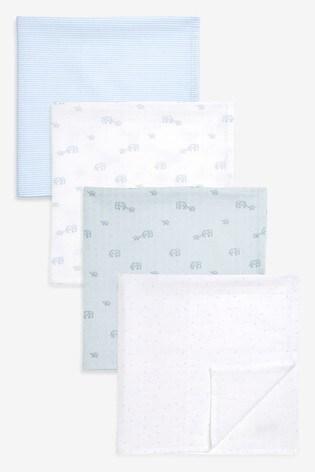 Blue Elephant 4 Pack Muslin Squares (Newborn)