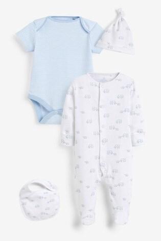 Pale Blue Cotton Elephant Sleepsuit, Bodysuit, Bib And Hat Set (0-9mths)