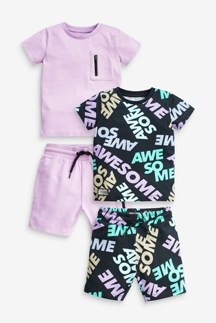 Lilac Slogan 2 Pack T-Shirt And Shorts Set (3mths-7yrs)
