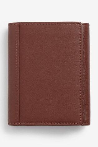 Tan Signature Italian Leather Extra Capacity Trifold Wallet