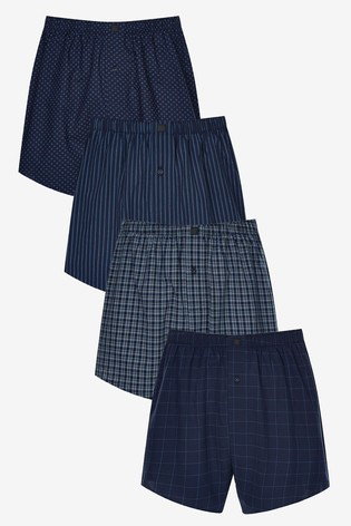 Dark Blue Pattern Woven Pure Cotton Boxers 4 Pack