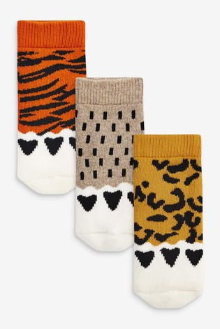 Multi Neutral 3 Pack Animal Claw Towelling Socks (Younger)