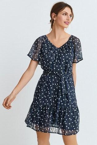 Navy Spot Sparkle Bardot Mini Dress