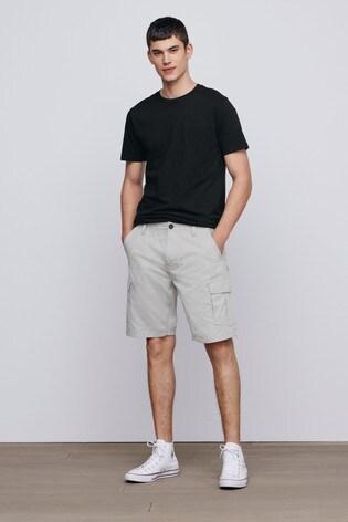 Light Stone Straight Fit Cotton Cargo Shorts