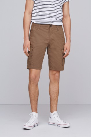 Tan Straight Fit Cotton Cargo Shorts