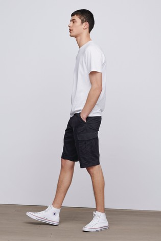 Black Straight Fit Cotton Cargo Shorts