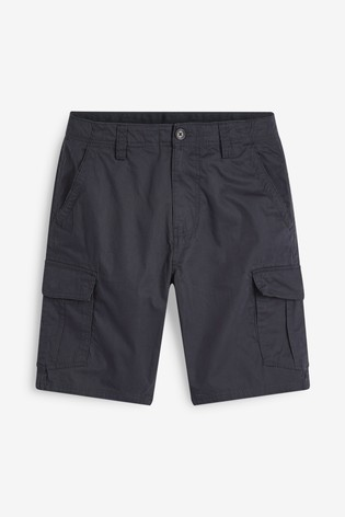 Navy Straight Fit Cotton Cargo Shorts