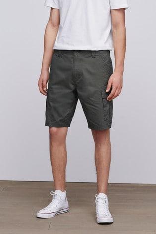 Khaki Straight Fit Cotton Cargo Shorts
