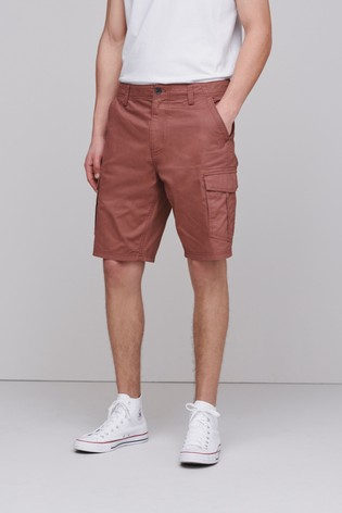 Red Straight Fit Cotton Cargo Shorts