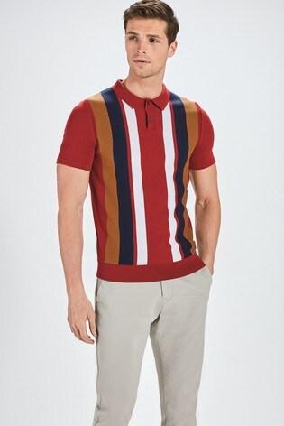 Red Vertical Stripe Premium Button Through Polo Shirt