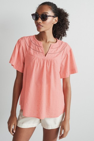 Coral Lace Insert Textured T-Shirt