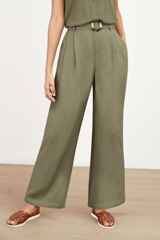 Sage Belted Wide Leg Trousers