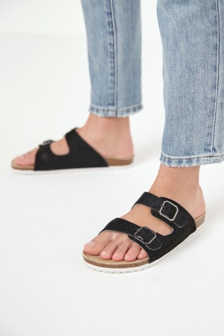 Black Two Band Footbed Mules