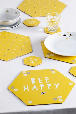Set of 4 Bees Placemats and Coasters