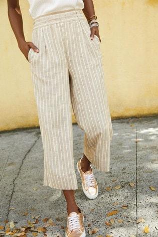 Neutral Stripe Linen Blend Slouch Culottes