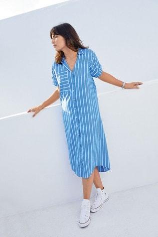 Blue Short Sleeve Relaxed Shirt Dress