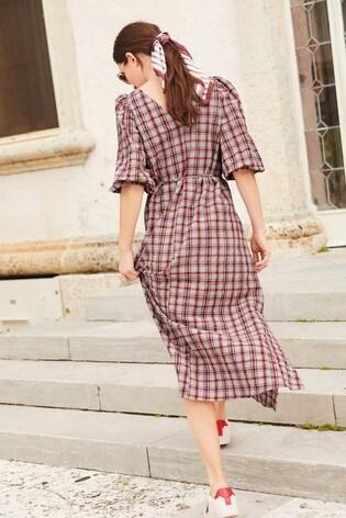 Red/Grey Check Midi Swing Dress