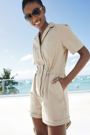 Neutral Chino Playsuit