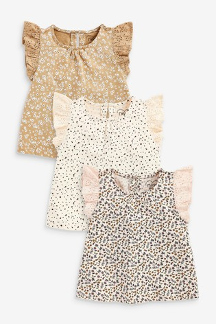 Neutral 3 Pack Organic Cotton Ditsy Vests (3mths-7yrs)
