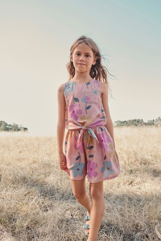 Pink Floral Tie Front Blouse And Shorts Co-ord Set (3-16yrs)