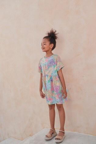 Tropical Print Jersey Dress (3-16yrs)