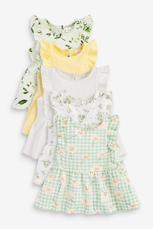 Yellow Floral 5 Pack Vests (3mths-7yrs)