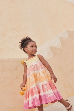 Pink/Orange Organic Cotton Tie Dye Dress (3mths-7yrs)