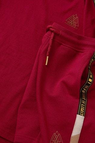 Burgundy Taped Shorts And T-Shirt Set (3-16yrs)