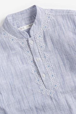 Light Blue Regular Length Embroidered Kurta (3-16yrs)