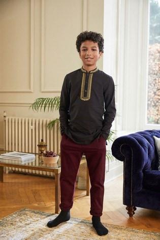Black Regular Length Embroidered Kurta (3-16yrs)