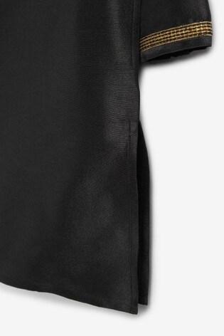 Black Long Length Embroidered Kurta (3-16yrs)