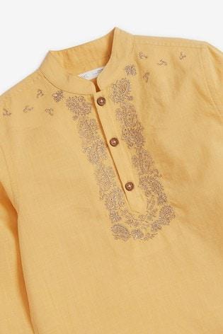 Yellow Regular Length Embroidered Kurta (3-16yrs)