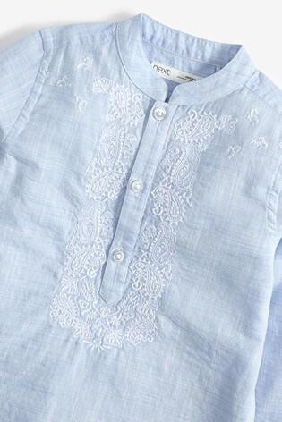 Blue Regular Length Embroidered Kurta (3mths-7yrs)