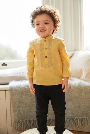 Yellow Regular Length Embroidered Kurta (3mths-7yrs)