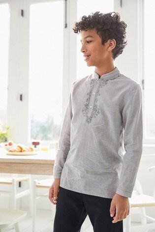 Grey Regular Length Embroidered Kurta (3-16yrs)
