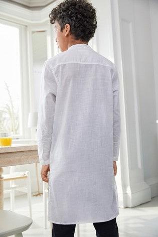 White Long Length Embroidered Kurta (3-16yrs)