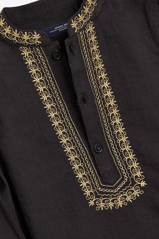 Black Regular Length Embroidered Kurta (3mths-7yrs)