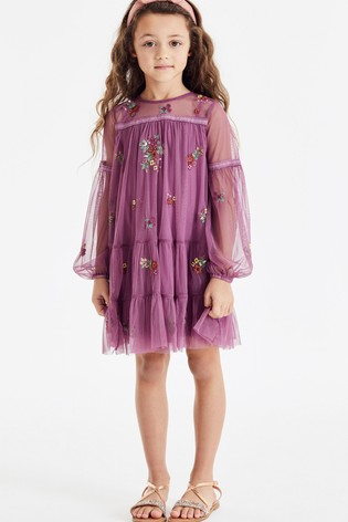 Pink Tiered Embroidered Dress (3-16yrs)